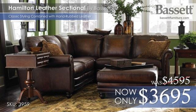 3959-Hamilton Bassett Leather Sectional Reg $4595 now $3695