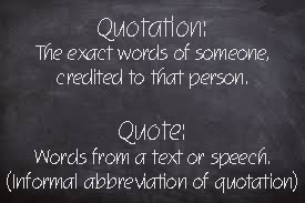 Quote quotation difference Grammar