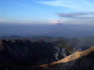 view of mount sinabung prior to eruption from top of mount sibayak