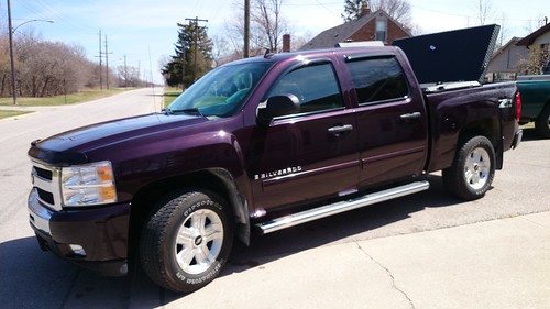 Purple Chevy Silverado With Hard Black Truck Bed Cover