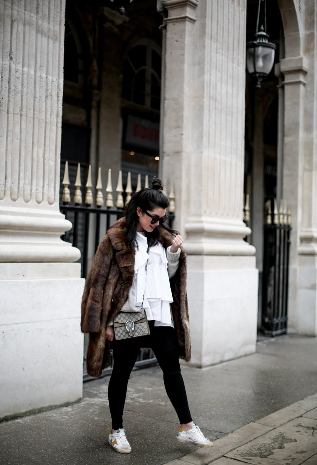 golden goose deluxe brand sneakers fur coat vintage streetstyle paris 2017-4