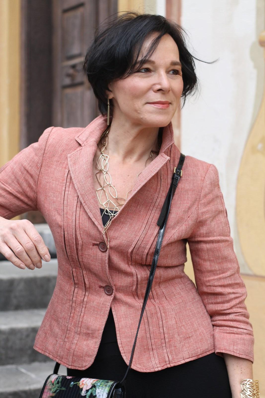 Black Palazzo Trousers Pink Cropped Blazer LadyofStyle