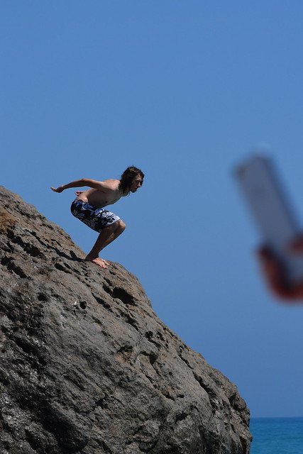 Kyle Jumping from Aphrodite's Rock