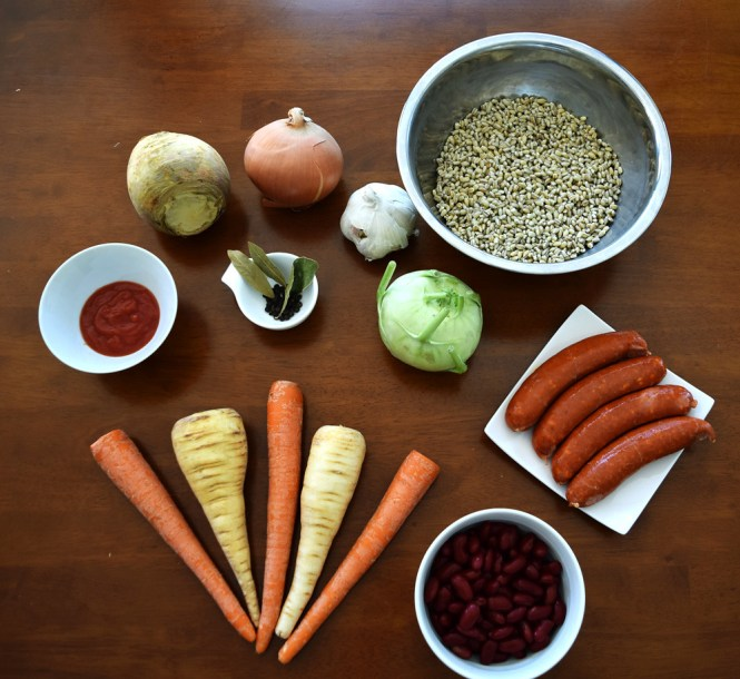 Ingredients Barley Stew with Root Vegetables and Sausage