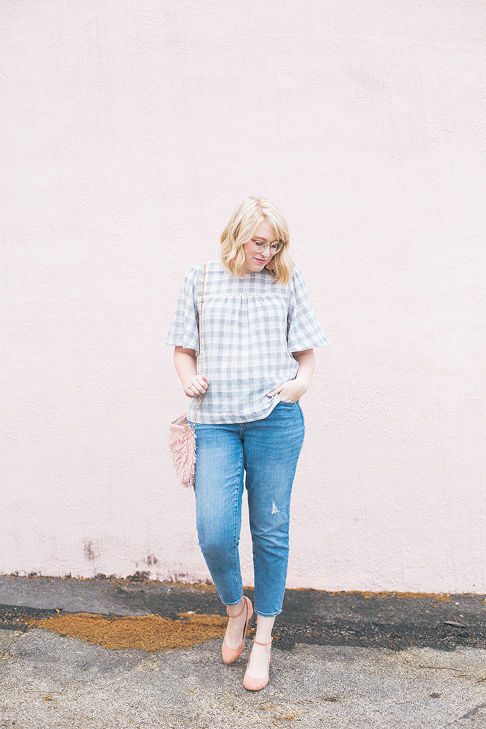 austin fashion blog gingham bell sleeves and blush1
