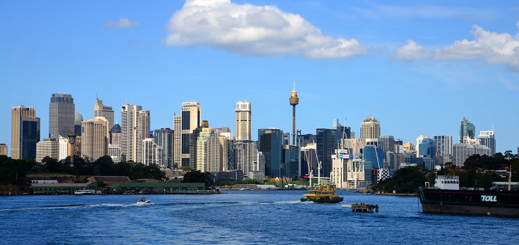 3d Wallpaper With White Background Sydney City Skyline 2014 On A Glorious Clear Sunny Day