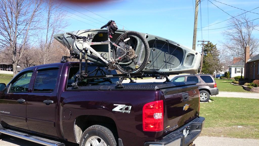 Kayak & Bicycle on Thule Rack on DiamondBack Truck Cover o