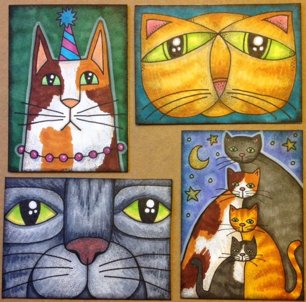 Whimsical Cat Atcs Drawn In Pen Colored With Copics And