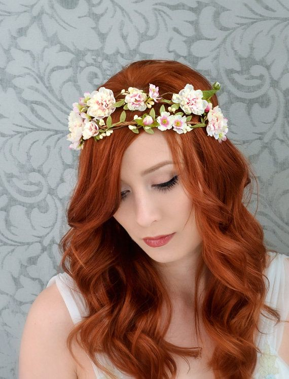 Boho Bridal Crown Wedding Headpiece Woodland Crown Flor