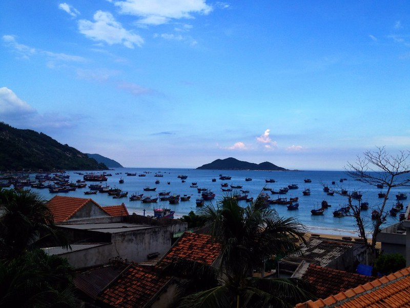 great view of dasi lanh bay and its fishing fleet