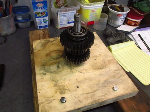 Output Shaft Front End Inserted in Jig