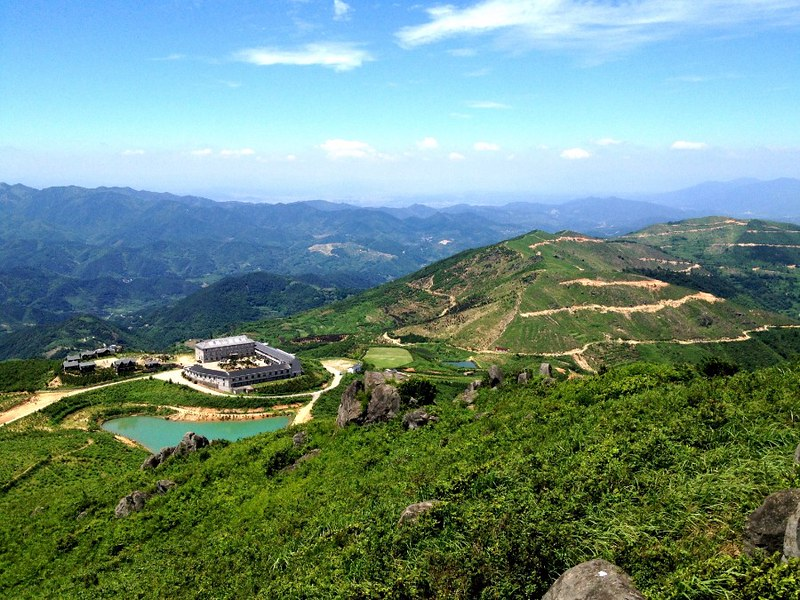 view from top of fuzhishan mountain in zhejiang