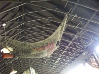 Guy in a hammock hanging from the ceiling of the hut ncpc ...