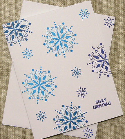 Randome Snowflake Christmas Card Handmade And