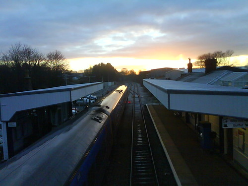 Sunrise over Warminster train station  On a very cold and