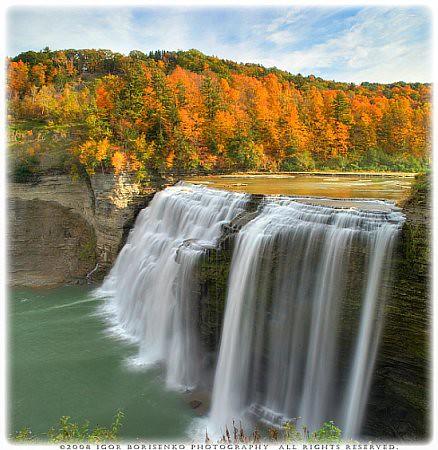 Niagara Falls At Night Wallpaper Autumn Silky Waterfall Paradise Hdr Letchworth State Park