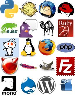 Open Source Logos  Collage of FOSS logos Contains logos