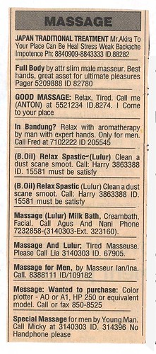 Jakarta Post massage ads  I clipped this from the Jakarta