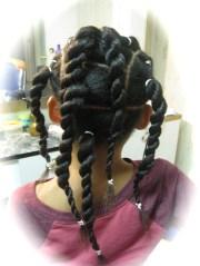 flat twist with twists ponytails