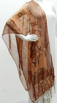 BROWN WITH GOLD SHEER SHAWL | Fabric : Poly/Rayon blend ...