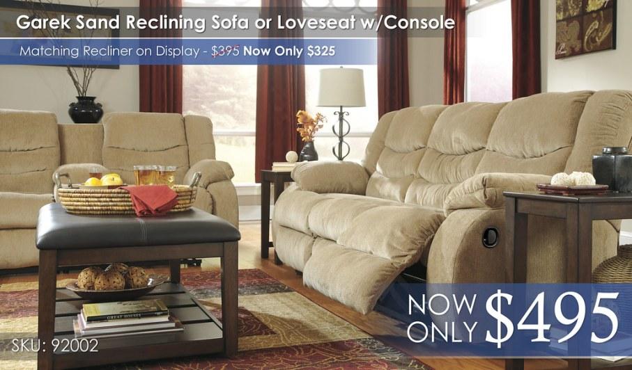 Garek Sand Reclining Sofa or Loveseat wConsole 92002-88-MOOD