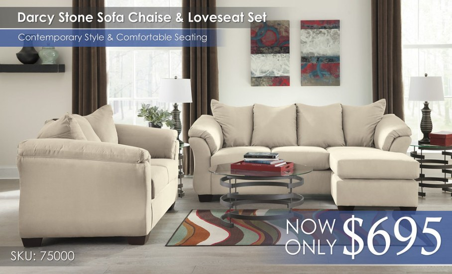 Darcy Stone Sofa & Loveseat 75000-18-35-T408