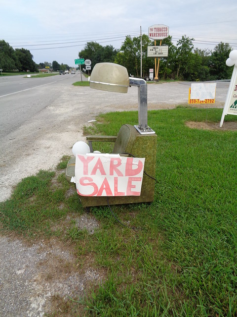 Ye Olde Beauty Parlor Chair Yard Sale Sign