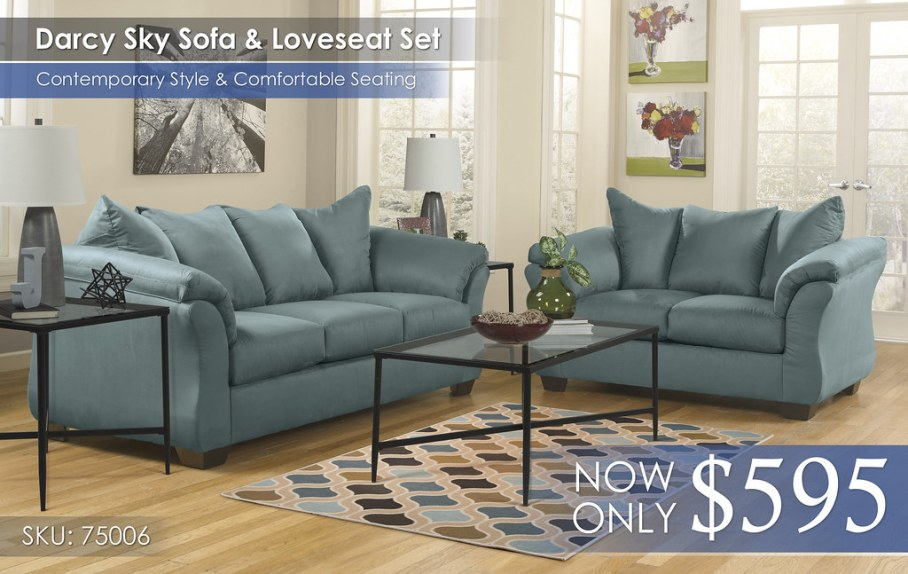 Darcy Sky Sofa & Loveseat Set 75006-38-35-T003