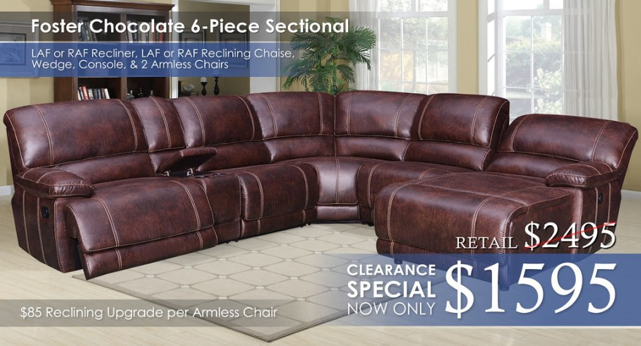 Foster Chocolate 6PC Sectional Work