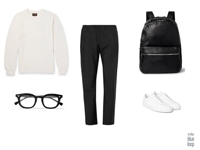 Mix de blanco y negro para hombre con pantalón casual masculino, jersey, mochila, gafas y zapatillas