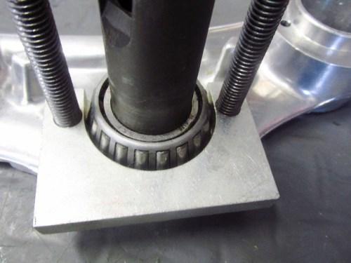 Steering Stem Lower Bearing Puller Plate Installed Under Inner Bearing Race