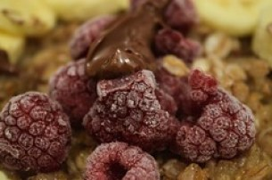 Raspberries on oatmeal