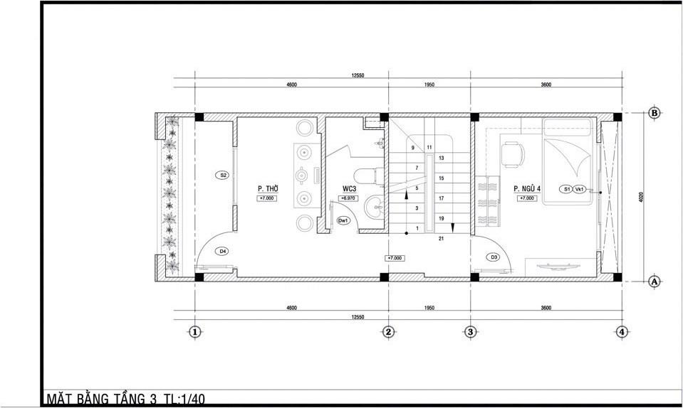 Mặt bằng tầng 3. Dự án Trường Thạnh Garden Quận 9.