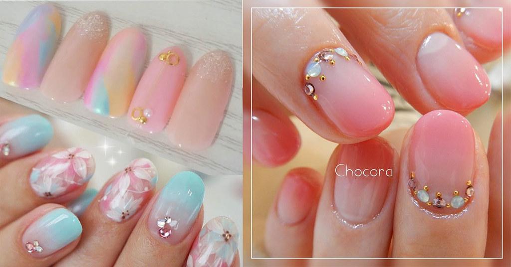 ♥ 漸層指甲的魅力!指上淡淡的暈開 1