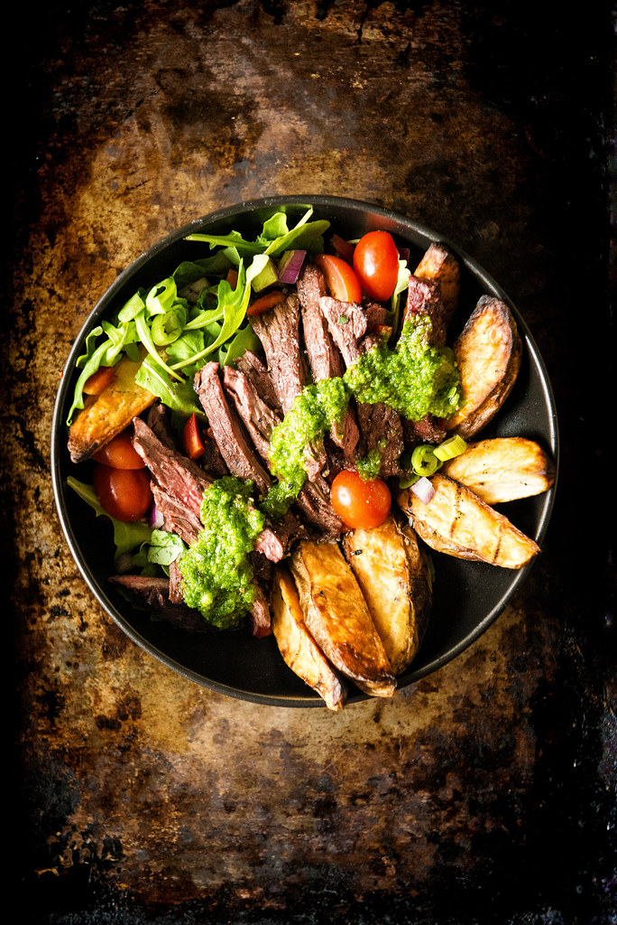 Grilled Chimichurri Steak with Potato Power Bowl {Girl Carnivore}