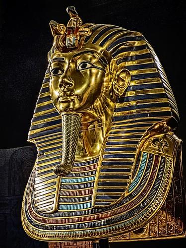 The famous gold death mask of King Tutankhamun New Kingdom