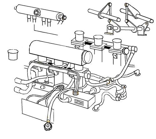 Porsche 911 GT1 throttles, wires, plumbing, cartoon. 1998