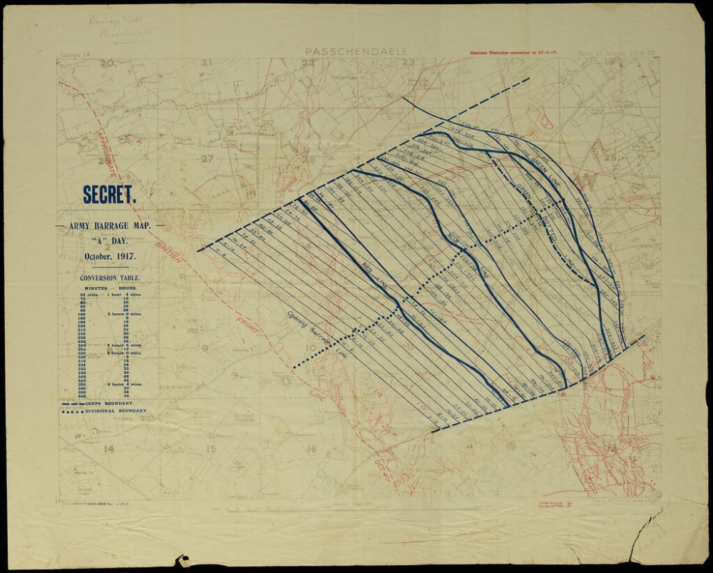 medium resolution of  passchendaele barrage map by archives new zealand
