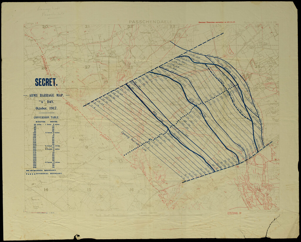hight resolution of  passchendaele barrage map by archives new zealand