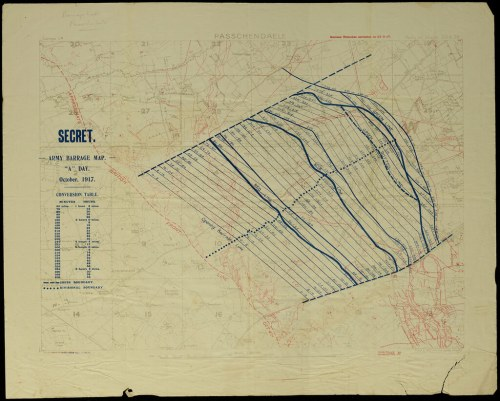 small resolution of  passchendaele barrage map by archives new zealand