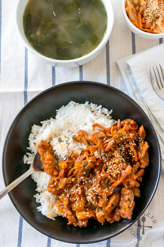Korean Spicy Stir-Fried Pork 돼지불고기 (Dwaejibulgogi)