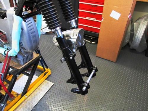 Stock Fork-Fender Brace Mounted on Rebuilt Forks