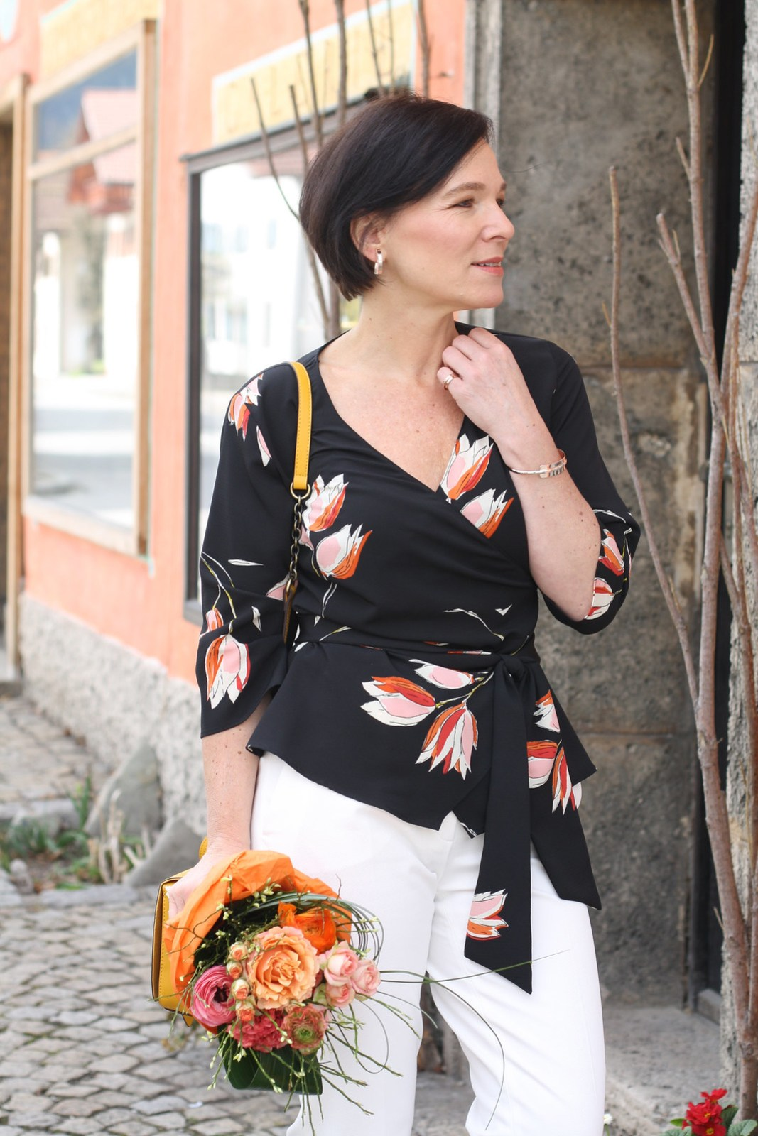 Floral Wraptop Leatherjacket Calla Pumps LadyofStyle Mature Blogger 12