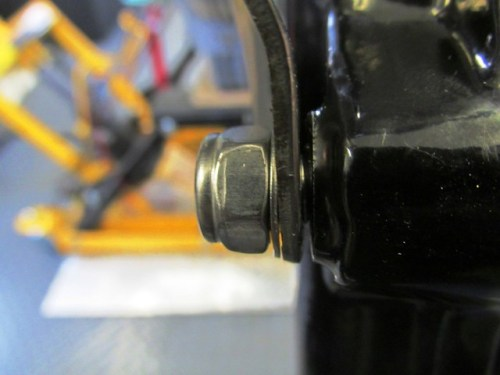 Thin Washer Needed To Remove Gap Between Stock Fork-Fender Brace and Fork Slider