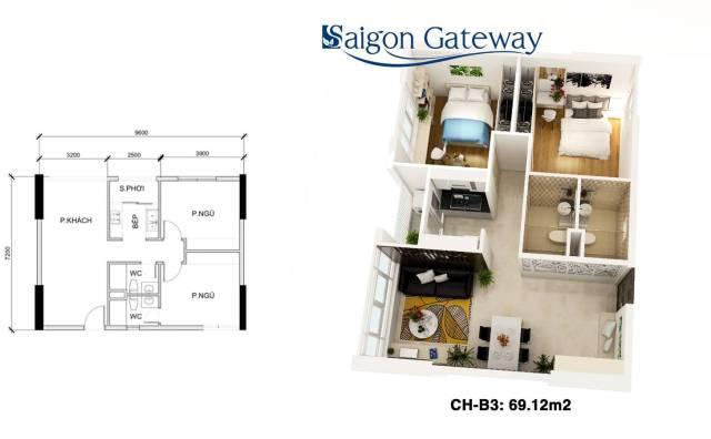 căn hộ saigon gateway 69.12 m2