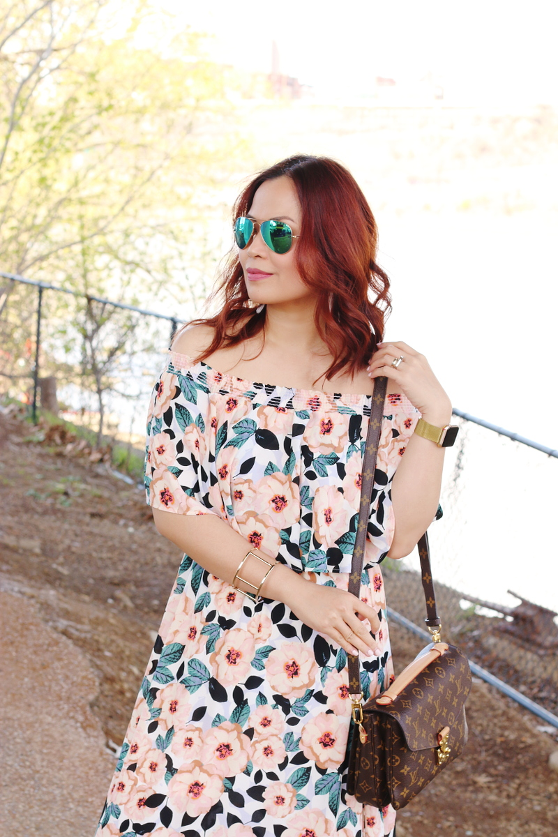 magnolia-print-off-shoulder-dress-louis-vuitton-bag-5