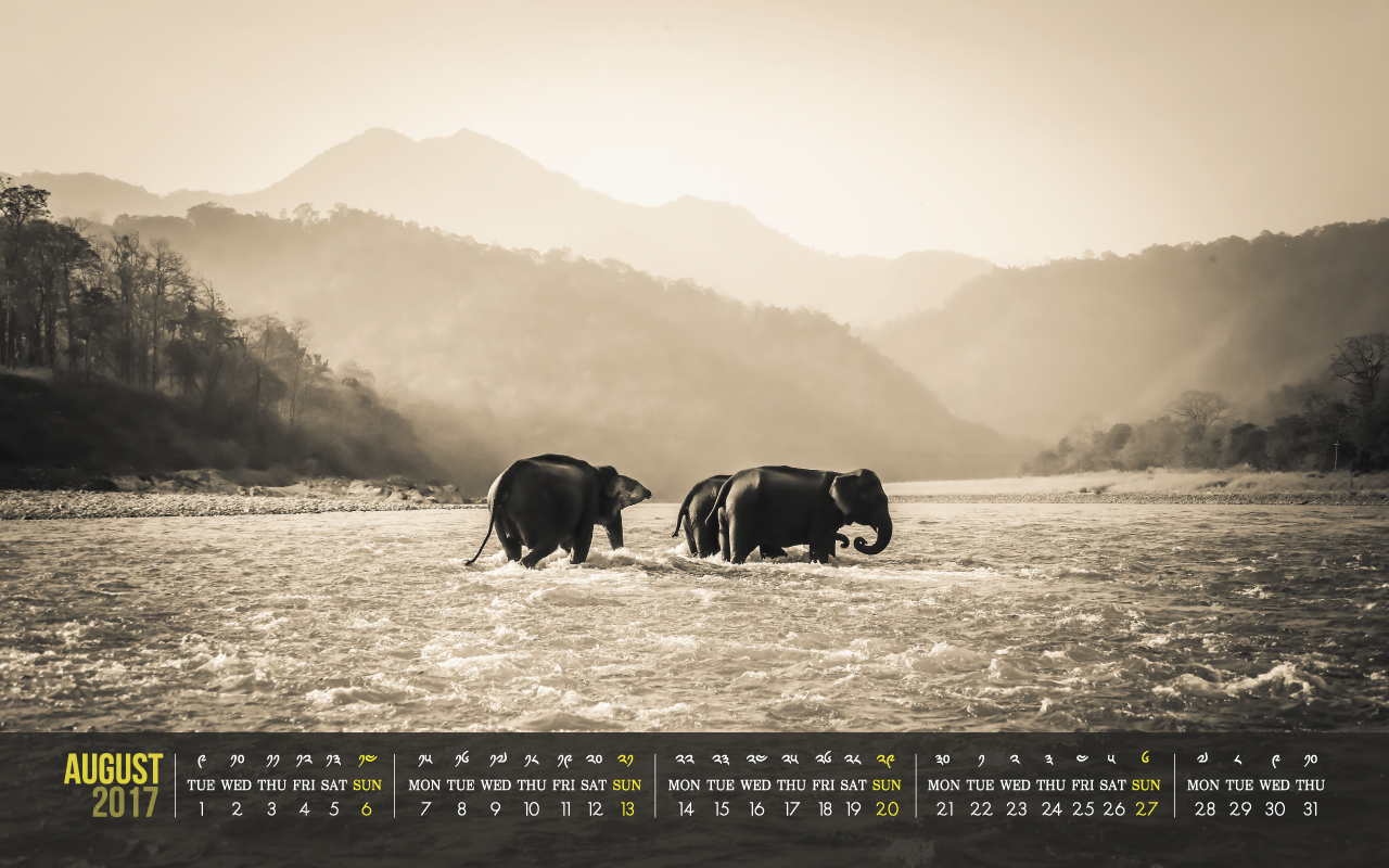Bhutan calendar: August 2017