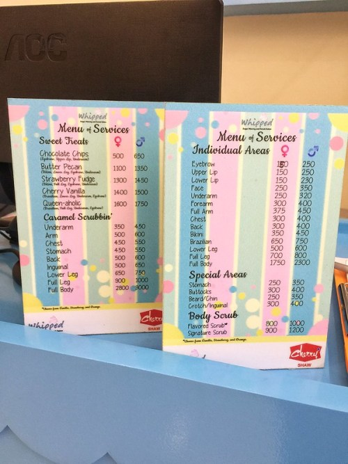 Whipped Waxing and Scrubbing Salon Menu and Services