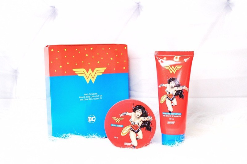 TWB Justice League Wonder Woman Body Scrub and Hand & Body Lotion set