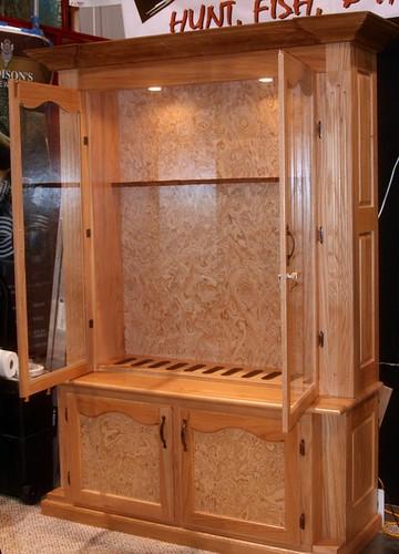 Solid Oak Gun Cabinet with Elm Carpathian Burl wood lamina